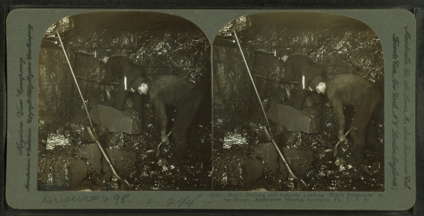 Miner_drilling_and_laborer_loading_-black_diamonds-_in_the_rough,_Anthracite_Mining,_Scranton,_Pa.,_U.S.A,_from_Robert_N._Dennis_collection_of_stereoscopic_views